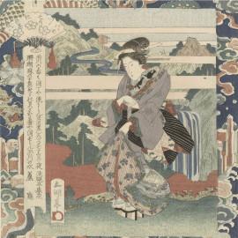 Vrouw op klif -  Utagawa Sadakage 1832 (5010.2041)