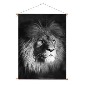 Textielposter © Ron Entius - Leeuw zwart-wit (6217.1005)