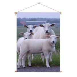 Textielposter © Brenda Boom - Familieportret schapen op Terschelling-Dijk-Striep (6218.0314) (bxh