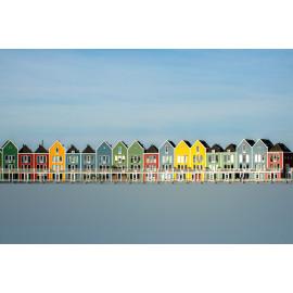 Wanddecoratie © Ruud Engel Photography - Gekleurde Huizen Rietplas Houten (6225.1039)