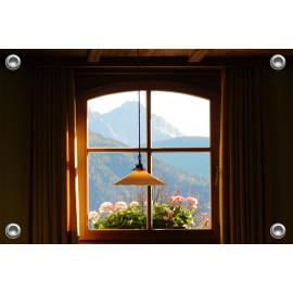 Tuinverruimer-Schuttingposter  - Uitzicht door Raam op Bergen  (5054.1082)