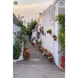 Tuinverruimer-Schuttingposter  - Spaans Straatje met Geraniums  (5054.1091)