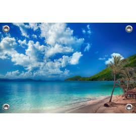 Tuinposter Strand met Palmboompjes (5051.3018)