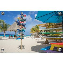 Tuinposter Strand met Surfschool en Wegwijzers (5051.3041)