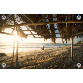 Tuinposter Overkapping strand met surfer (5051.3046)