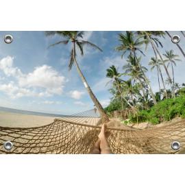 Tuinposter strand vanuit hangmat (5051.3048)