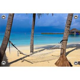 Tuinposter Strand hangmat tropische zee (5051.3056)