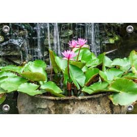 Tuinposter Waterval Waterlelie Betonnen Pot (5052.3013)