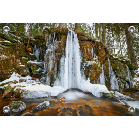 Tuinposter Waterval midden in bos (5052.3019)