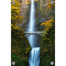 Tuinposter Waterval tussen brug (5052.3020)