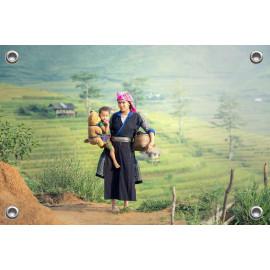 Tuinposter Landschap Azië Moeder en Kind (5053.3010)