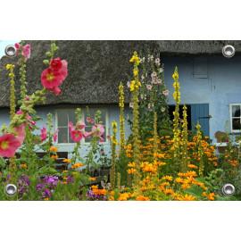 Tuinposter-Schuttingposter Boerderij met bloemen (5020.3001)