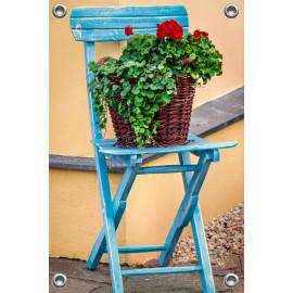 Tuinposter-Schuttingposter Stoel met Geraniums (5020.3008)
