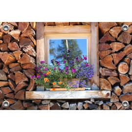 Tuinposter-Schuttingposter Venster houtblokken  (5020.3020)