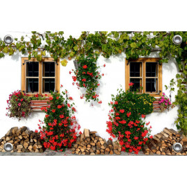 Tuinposter-Schuttingposter Venster Geraniums (5020.3027)