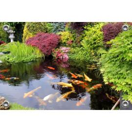 Tuinposter Japanse Tuin met Koi Karpers (5050.3019)