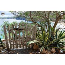 Tuinposter Ibiza tuin aan het strand (5090.3016)