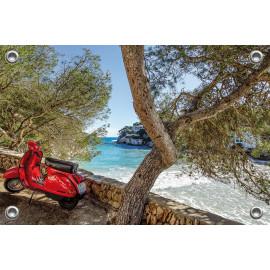 Tuinposter Scooter langs strand Spanje (5090.3018)