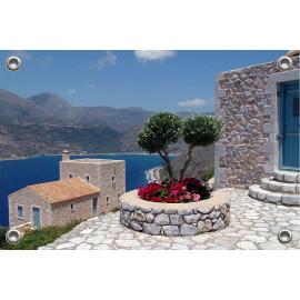 Tuinposter Grieks terras boven zee (5090.3029)