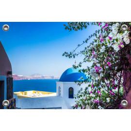 Tuinposter Santorini Doorkijkje naar Zee (5090.3031)