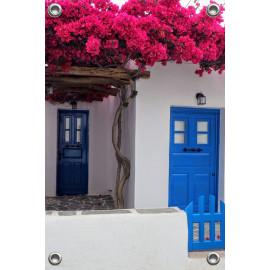 Tuinposter Griekse deur met bougainville (5090.3033)
