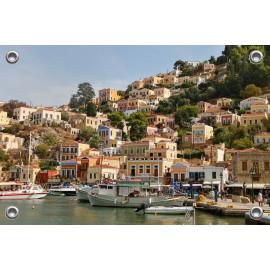 Tuinposter Symi Havenstad Griekenland (5090.3040)