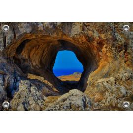 Tuinposter Doorkijk Rots Griekenland (5090.3041)