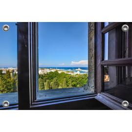 Tuinposter Venster doorkijk Zee Rhodos (5090.3043)